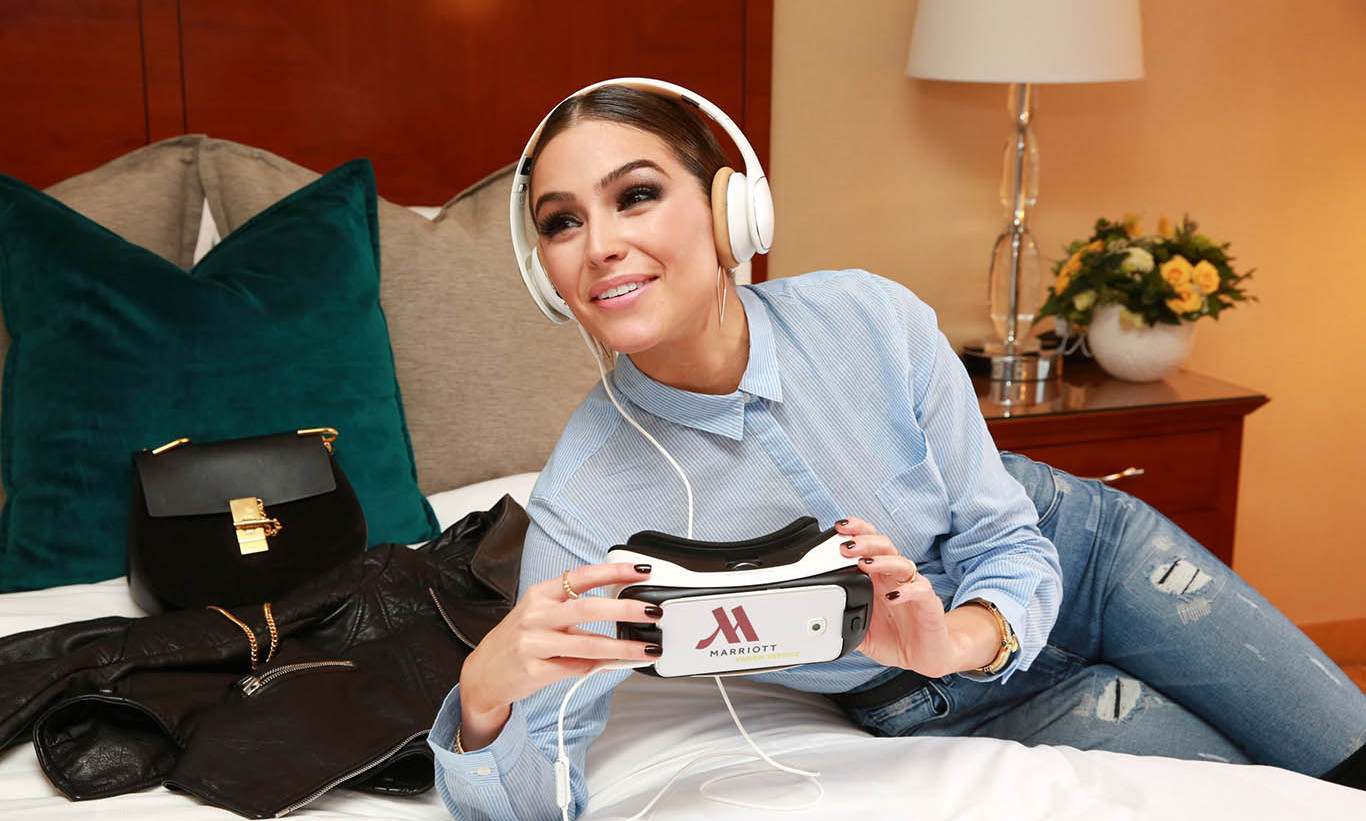 September 16: Olivia Culpo took a virtual vacation to Chile, China and Rwanda while trying out Virtual Reality Room Service at a Marriott Hotel in New York City.