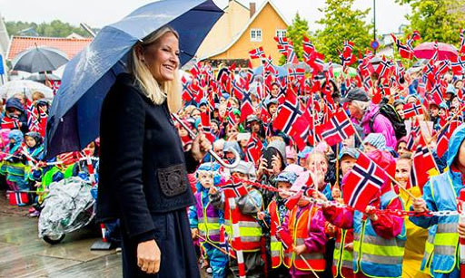 Crown Princess Mette-Marit of Norway on an official visit to Akershus county in Norway.