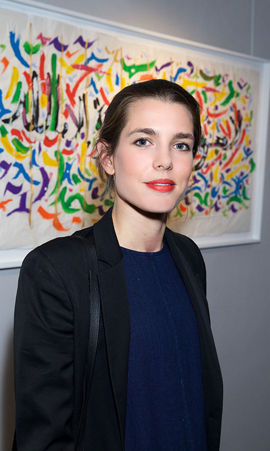 Princess Grace's granddaughter Charlotte Casiraghi attends the 'Paintings Poems from Tahar Ben Jelloun - Furniture Scriptures from C. Saccomanno & O. Dayot' Press Preview at Galerie du Passage in Paris.<br>