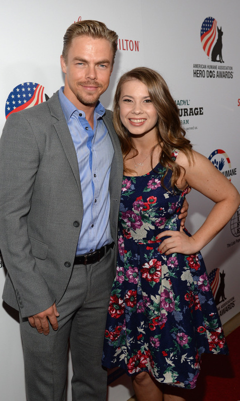 September 19: Derek Hough brought his 'DWTS' partner Bindi Irwin to the 2015 American Humane Association Hero Dog Awards at the Beverly Hilton in Beverly Hills.