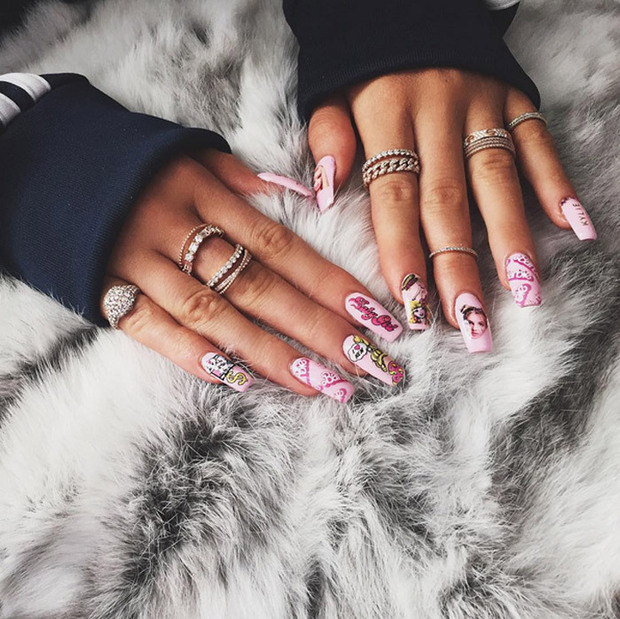 Kylie Jenner shows off fun Barbie inspired nails