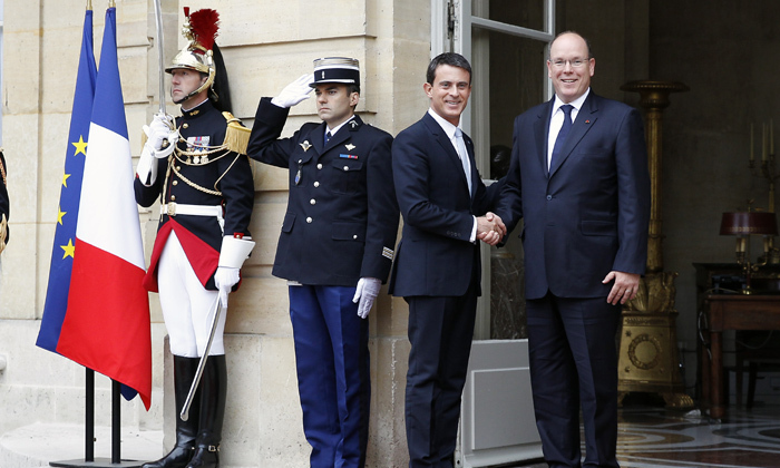 Prince Albert II of Monaco met with French Prime Minister Manuel Valls.