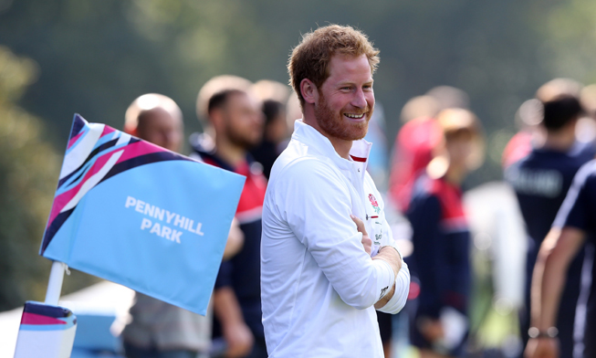 Prince Harry had a great time at an England rugby training session.