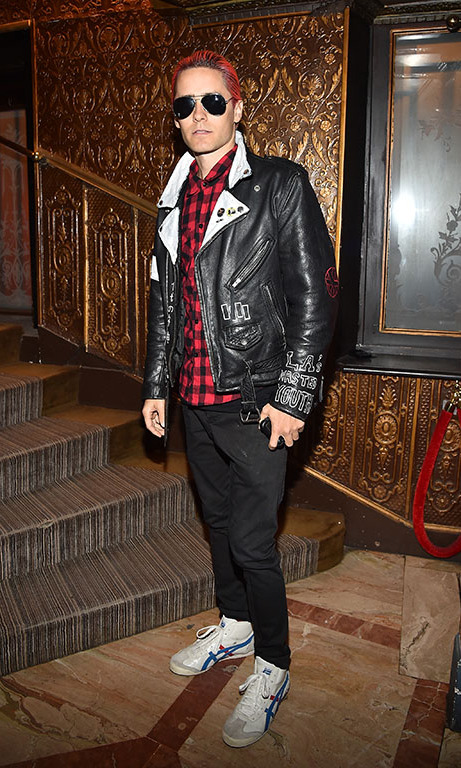 October 1: Jared Leto matched is hair with his shirt but still remained easy on the eyes during the Balmain soirée.