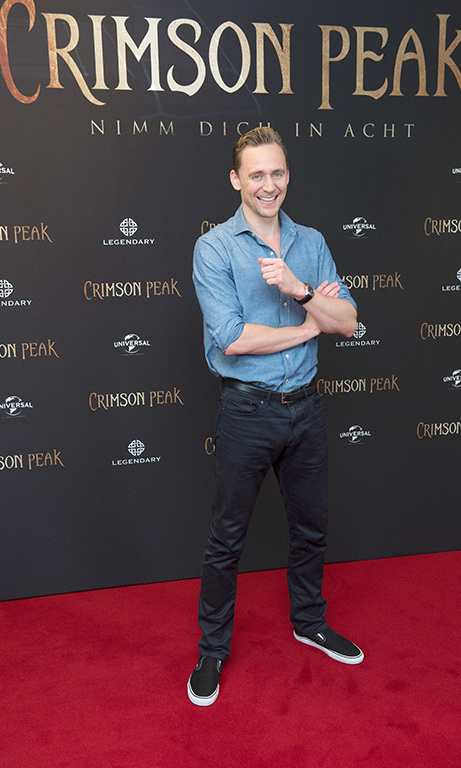 September 30: Tom Hiddleston flashed his lovely smile during the 'Crimson Peak' photo call in Berlin.