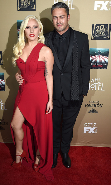 October 3: Lady in red! Lady Gaga, in Brandon Maxwell, with fiancé Taylor Kinney had a fun date night at the 'American Horror Story' premiere in L.A.