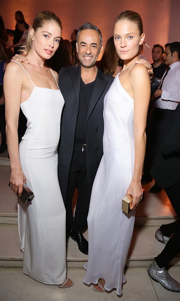 October 3: Doutzen Kroes coordinated with Constance Jablonski and Francisco Costa for the Vogue bash in Paris. 