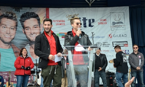 October 3: 'NSYNC star Lance Bass and his husband, Michael Turchin were welcomed onstage in downtown Milwaukee during the opening ceremonies of AIDS Walk Wisconsin & 5K Run.
