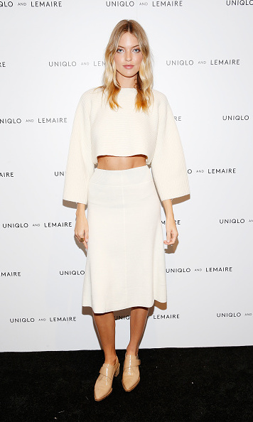 October 1: Martha Hunt wore a UNIQLO x Lemaire at the pre-shopping event in NYC for the collection.  