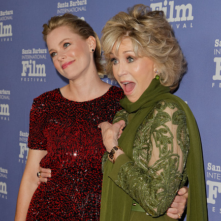 October 3: Look who it is! Jane Fonda posed with Elizabeth Banks during the Santa Barbara International Film Festival.