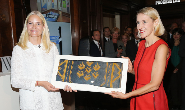 Princess Mette-Marit of Norway beamed as she presented a Norweigan gift to designer Cooper Hewitt at the United Nations.