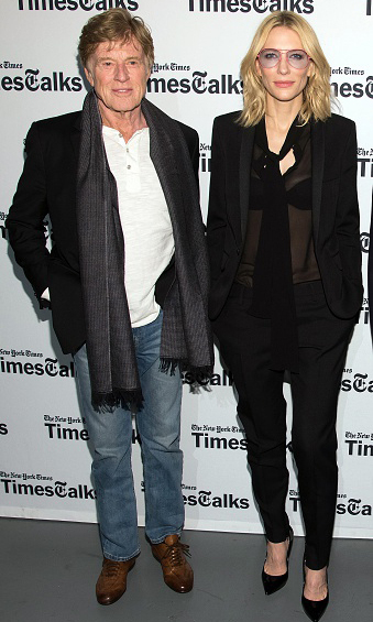 "October 8: Hollywood legends Robert Redford and Cate Blanchett participated in the New York Times 'TimesTalk"" series in New York City.
