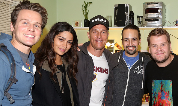 October 10: Matthew McConaughey and wife Camila Alves as well as James Corden met 'Hamilton' star Jonathan Groff and creator of the show Lin-Manuel backstage after taking in the performance on Broadway in NYC.