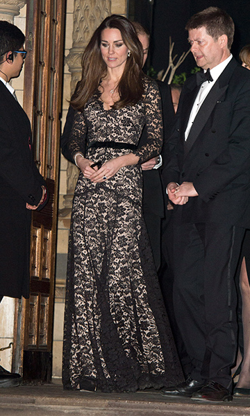 Kate loves this Alice Temperley dress so much she wore it not just once but three times, most recently at a screening hosted at the National History Museum in December 2013.