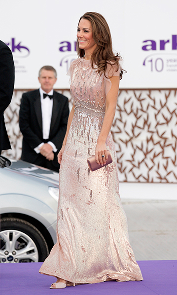 The Duchess was pretty in pink in this sequin embellished Jenny Packham number for the ARK 10th Anniversary Gala Dinner in June 2011, just months after she tied the knot. <br>