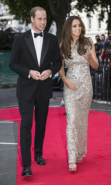 Duchess Kate made her first red carpet appearance following the birth of Prince George in 2013 wearing this sparkly silver dress from one of her go-to designers, Jenny Packham.<br>