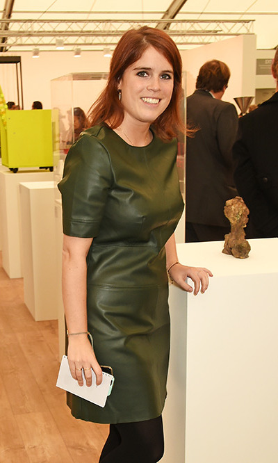Princess Eugenie of York rocked an olive green leather dress at a VIP preview of the Frieze Art Fair 2015 in London, England. <br>