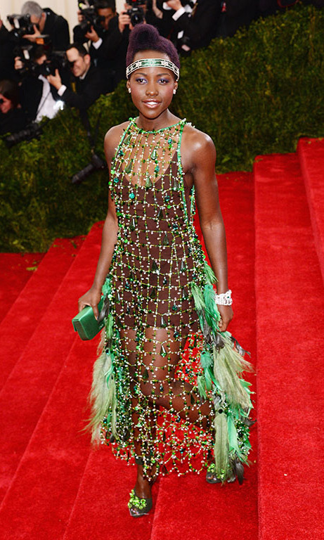 May 2014: Thanks to Prada, Lupita  wore an edgier look to the Met Ball in New York City. 