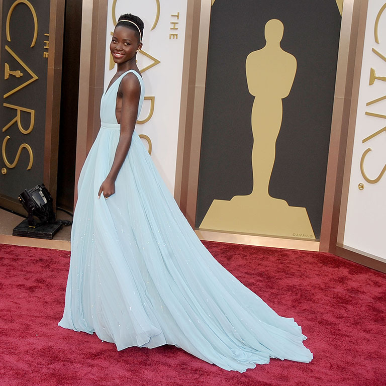 March 2014: A blue princess! Lupita was a vision in Prada during the Academy Awards, where she took home her first Oscar. 