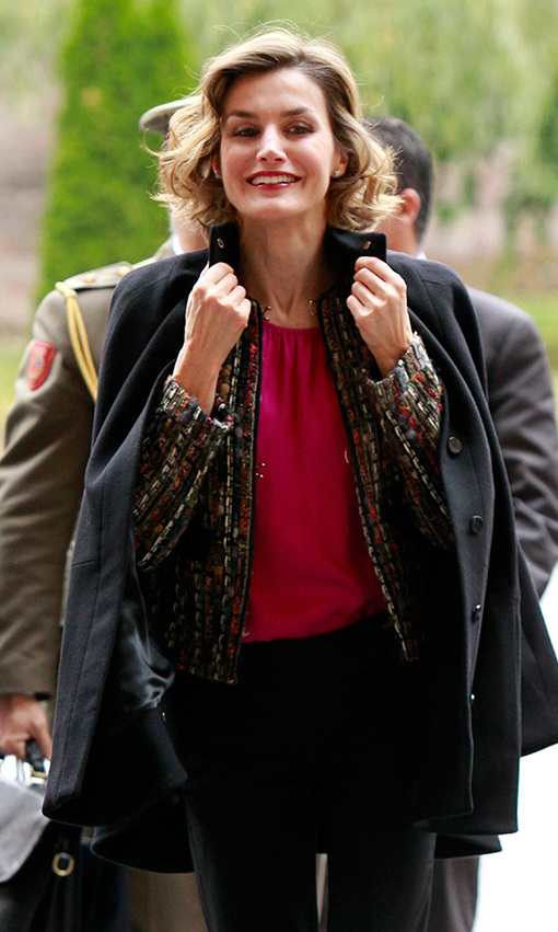 Former TV news anchor Queen Letizia of Spain layered up against the chill as she headed to the 10th International Seminary of Journalism and Language in San Millan de la Cogolla, Spain. <br>