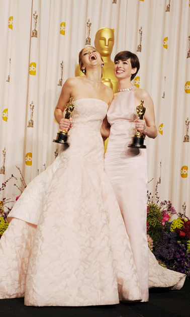 If excitement over an Oscar win was measured by how wide one could open their mouth, the 'Silver Linings Playbook' star's rating would be off the charts! Here, she posed at the 2013 Oscars with fellow winner Anne Hathaway.