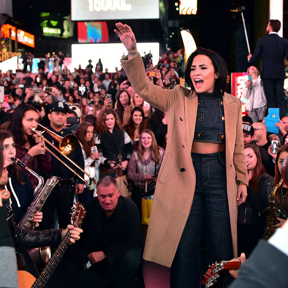 October 15: Demi Lovato showed her confidence to New York City during a street performance in Times Square. 