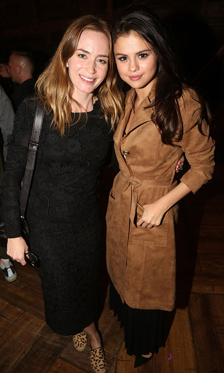 October 14: Selena Gomez and Emily Blunt spent some time backstage after Broadway's 'Hamilton'.