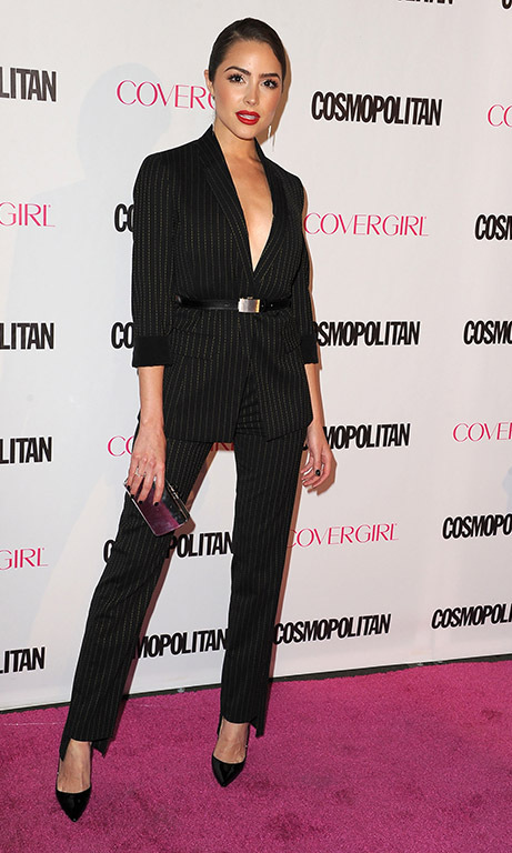 October 12: Olivia Culpo looked chic in stripes at Cosmopolitan's 50th birthday celebration. 