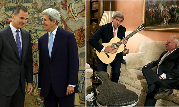 ¡Olé! Secretary of State John Kerry was gifted his very own classical Spanish guitar while visiting King Felipe in Madrid. <br> 