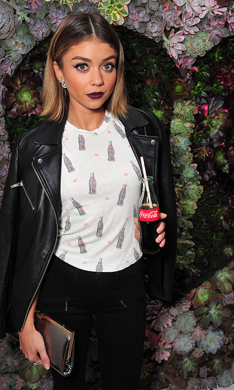 October 22: Sarah Hyland  added a little pop to her outfit at the WILDFOX Loves Coca-Cola capsule collection party in West Hollywood. 