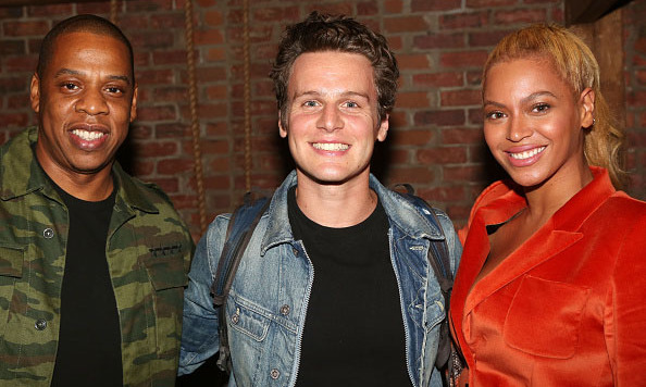 October 21: The Carters take Broadway! Jay Z and Beyonce posed for a photo with Jonathan Groff backstage after 'Hamilton' on Broadway in New York City. 