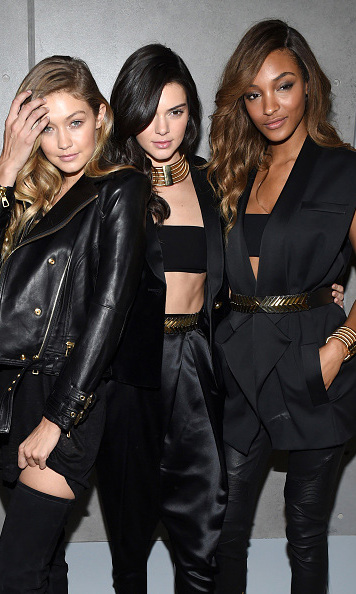 October 20: Balmain's beauties! Gigi Hadid, Kendall Jenner and Jourdan Dunn posed backstage after walking the runway at the Balmain X H&M launch presentation. 
