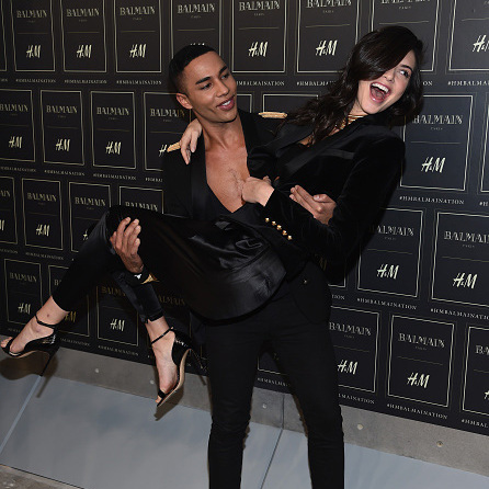 October 20: Who needs a lift! Balmain creative director Oliver Rousteing lifted up friend and model Kendall Jenner backstage at the Balmain X H&M presentation in New York City. 
