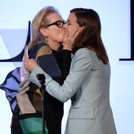 October 19: Meryl Streep gave 'Suffragette' co-star Carey Mulligan a big smooch during the Elle Women in Hollywood Awards. 