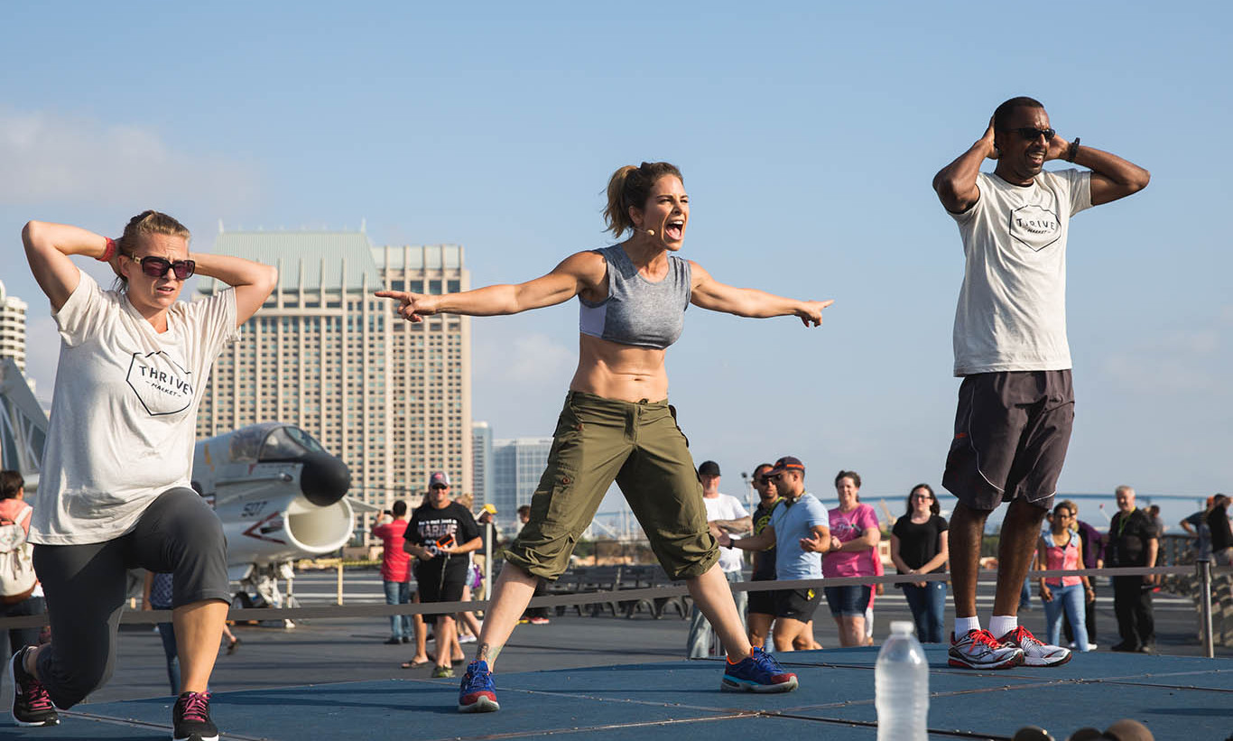 October 17: Fitness guru Jillian Michaels partnered with Blue Star Families and Thrive Market for her fitness bootcamp for active military service members and their  military families in San Diego. 