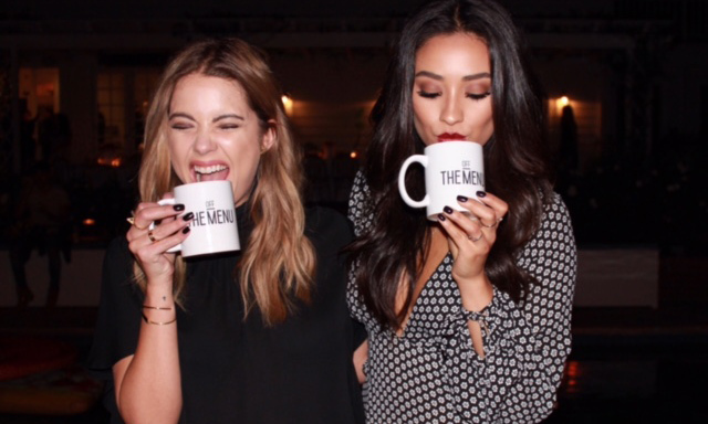 October 22: The secret is in the mug! 'Pretty Little Liars' Ashley Benson and Shay Mitchell attended the launch party for the new Off the Menu app in L.A.