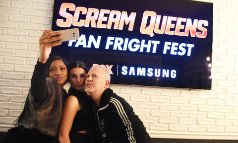 October 24: Keke Palmer, Lea Michele and Ryan Murphy snapped a selfie on Keke's Samsung Galaxy S6 edge+ phone during 'Scream Queens' Fanfright Fest in NYC.