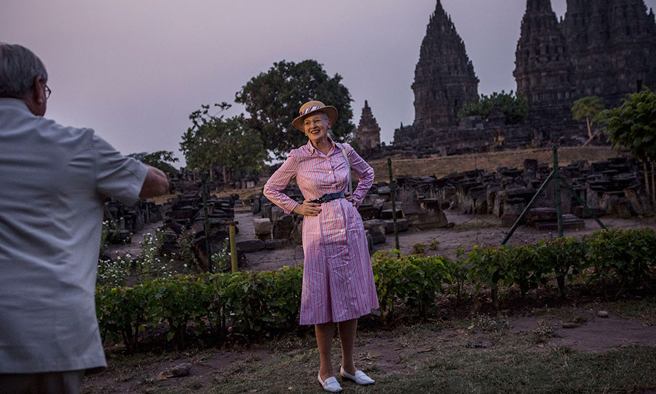 """Say cheese!"" Prince Henrik snapped a photo of his wife Queen Margrethe of Denmark in Indonesia, where the royal couple were on a state visit to mark 65 years of diplomatic relations. <br>