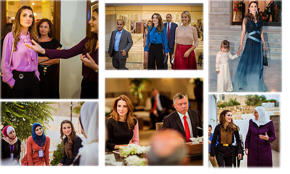 "It was a whirlwind week for Queen Rania of Jordan, who accompanied her husband King Abdullah to the Human Resources Development committee, checked out the Jordan River Foundation (@JordanRiverFdn) and visited the Charitable Society for Women in Jerash. She also posted a 2004 throwback photo of her ""sweet little companion"" daughter Princess Salma, top right. <br>