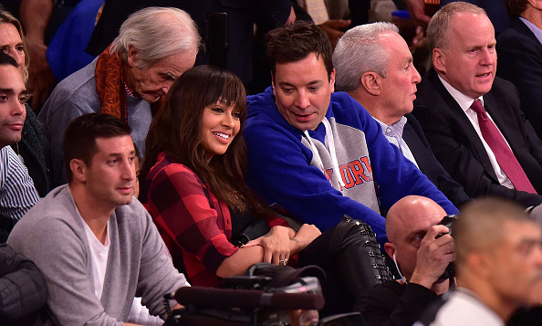 October 29: A little comedy and sports! Jimmy Fallon and Lala Anthony hammed it up at the New York Knicks opening night at Madison Square Garden in New York City. 
