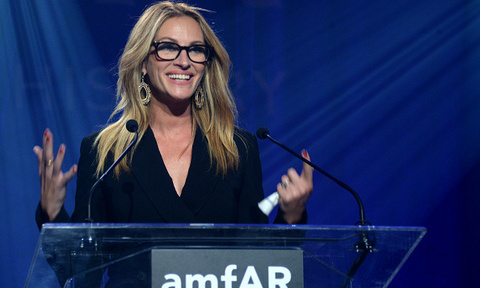 October 29: Julia Roberts was all smiles during her speech at the amfAR gala at Milk Studios in L.A.