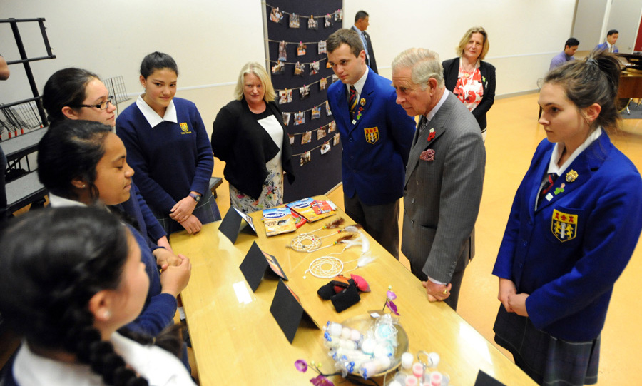 Prince Charles met up with students at Tawa College in Wellington.<br>