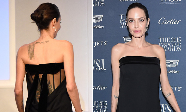 Angelina Jolie Shows Off Tattoos In Black Strapless Sheer