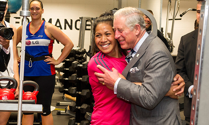 Prince Charles loved to hand out hugs during his travels around the world. Here, the future king embraced a well-wisher during a visit to AUT Millennium in Auckland in 2012.