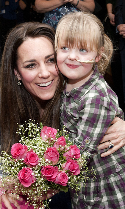 Kate Middleton received a warm welcome from 5-year-old Demi-Leigh Armstrong during a visit to the Shooting Star House Children's Hospice in Hampton, Middlesex in 2013. 