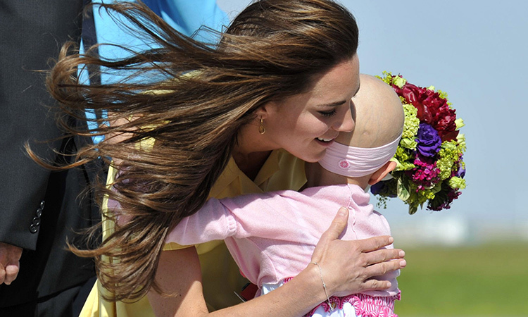 In Calgary in 2011, the Duchess of Cambridge received a beautiful hug from 6-year-old Diamond Marshall, who sadly lost her battle with cancer in 2014. 