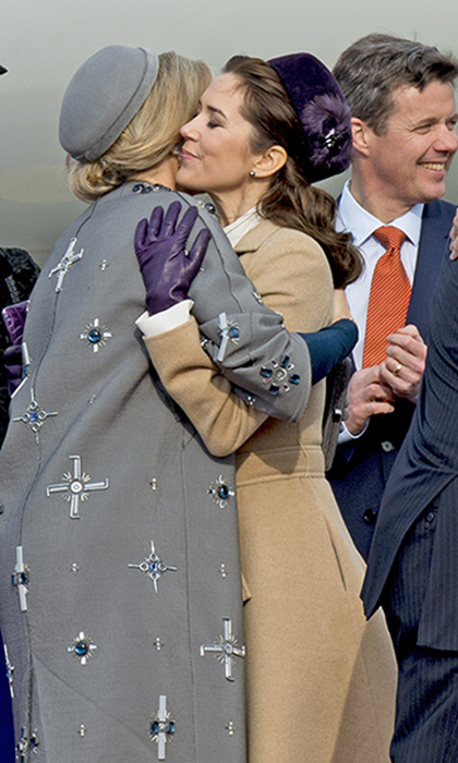 Royal besties Princess Mary of Denmark, right, and Queen Maxima of the Netherlands shared an embrace on the tarmac at Copenhagen Airport during the start of a Dutch state visit in March 2015. 