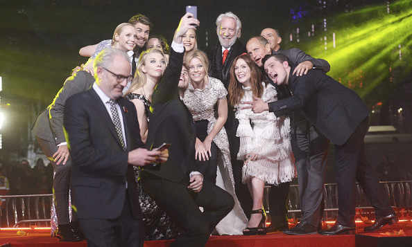 November 5: Selfie on three! The cast of 'The Hunger Games: Mockingkay Part 2' including Jennifer Lawrence, Liam Hemsworth and Josh Hutcherson, posed for a selfie during the London premiere. 
