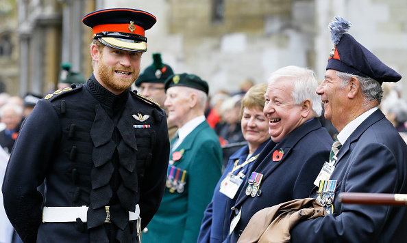 Prince Harry met with members of the armed forces and veterans during a Service in the Field of Remembrance at Westminster Abbey.