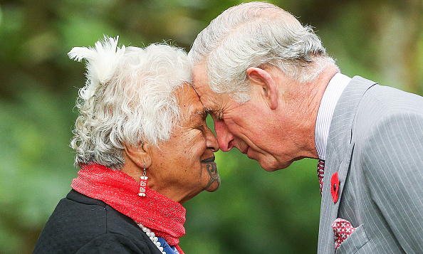 Prince Charles is greeted with a hongi, a traditional Maori greeting, while attending an event in the Taranaki region of New Zealand on day six of his and wife Camilla's tour to the island nation.  